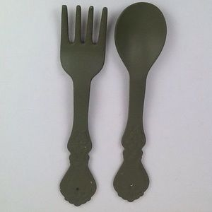 Vintage oversized wooden spoon & fork wall art.